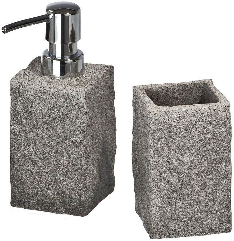 WENKO Bad-Accessoire-Set Granit, 2-teilig