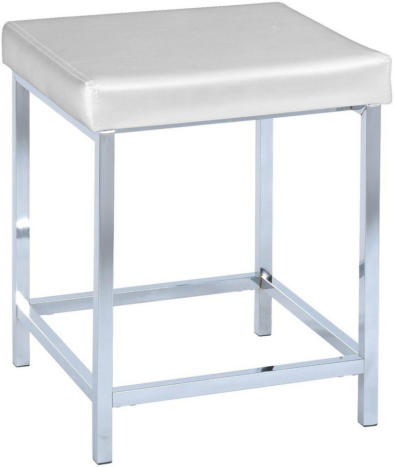 WENKO Hocker Deluxe Square White, Badhocker in weiß