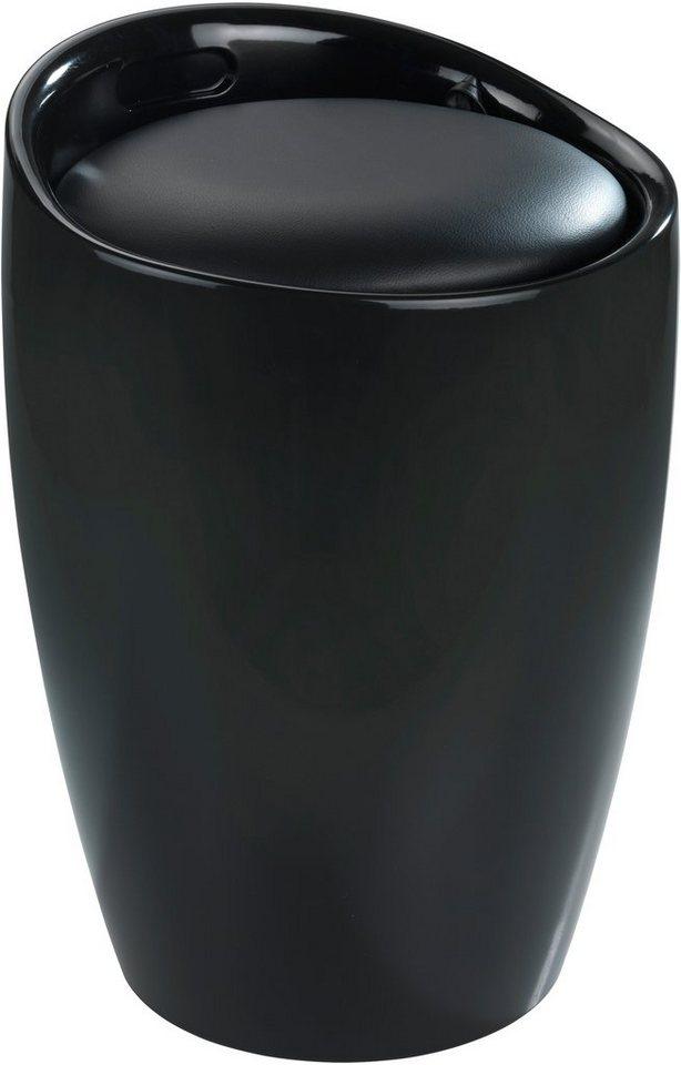 WENKO Hocker Candy White, Badhocker, mit abnehmbarem Wäschesack in schwarz