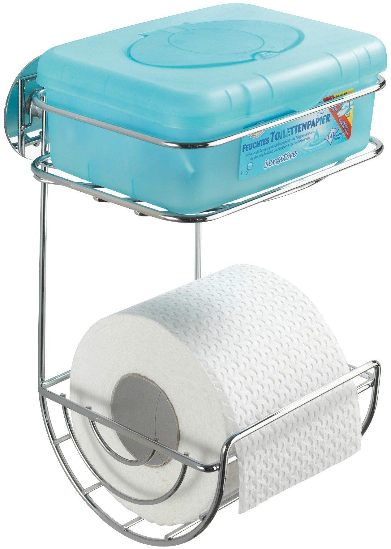 WENKO Turbo-Loc WC-Rollenhalter mit Ablage, Befestigen ohne bohren