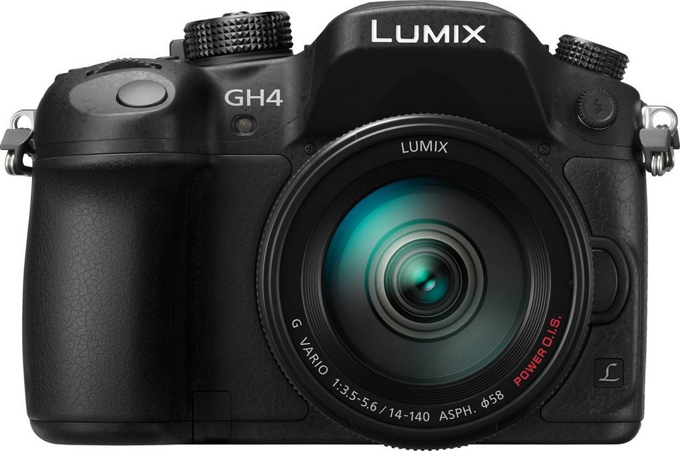 Lumix Panasonic DMC-GH4HEG-K System Kamera, LUMIX G VARIO 14-140 F3.5-5.6 ASPH. Zoom, 16 Megapixel in schwarz