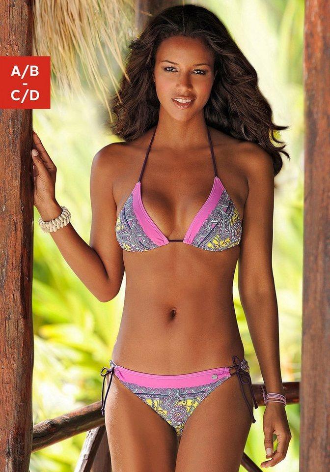 Triangel-Bikini, Jette in gelb bedruckt