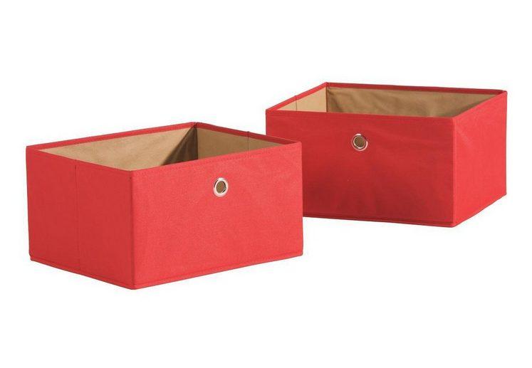 Roba® Aufbewahrungsbox »Canvas-Boxen, rot« (Set, 2 Stück)