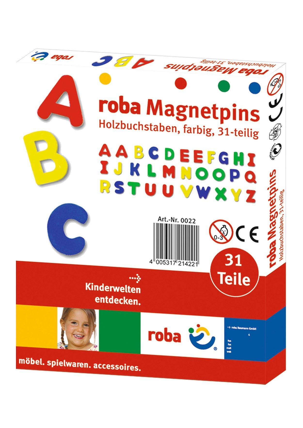 Holz-Magnetbuchstaben, Roba (3tlg.)