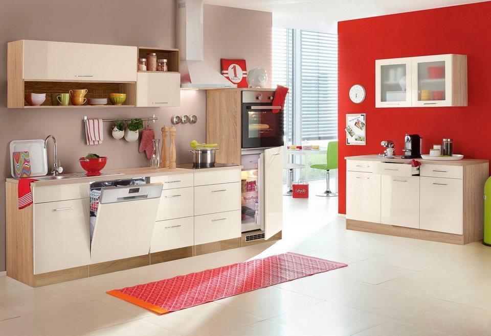 Küchenzeile, Held Möbel, »Lyon«, Breite 280 cm, mit E-Geräten in Vanille