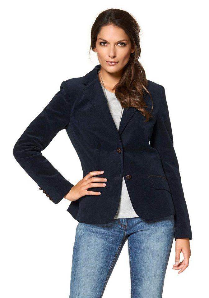 Damen Aniston by BAUR Jackenblazer mit Lederimitat-Einfassungen und Ärmelpatches blau | 06959737918802