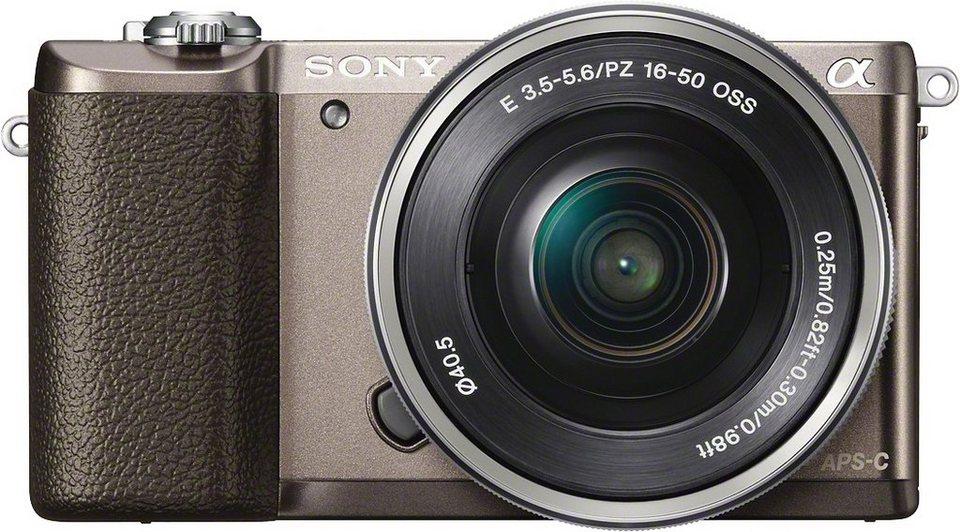 Sony Alpha ILCE-5100L System Kamera, SEL-P1650 Zoom, 24,3 Megapixel, 7,5 cm (3 Zoll) Display in braun