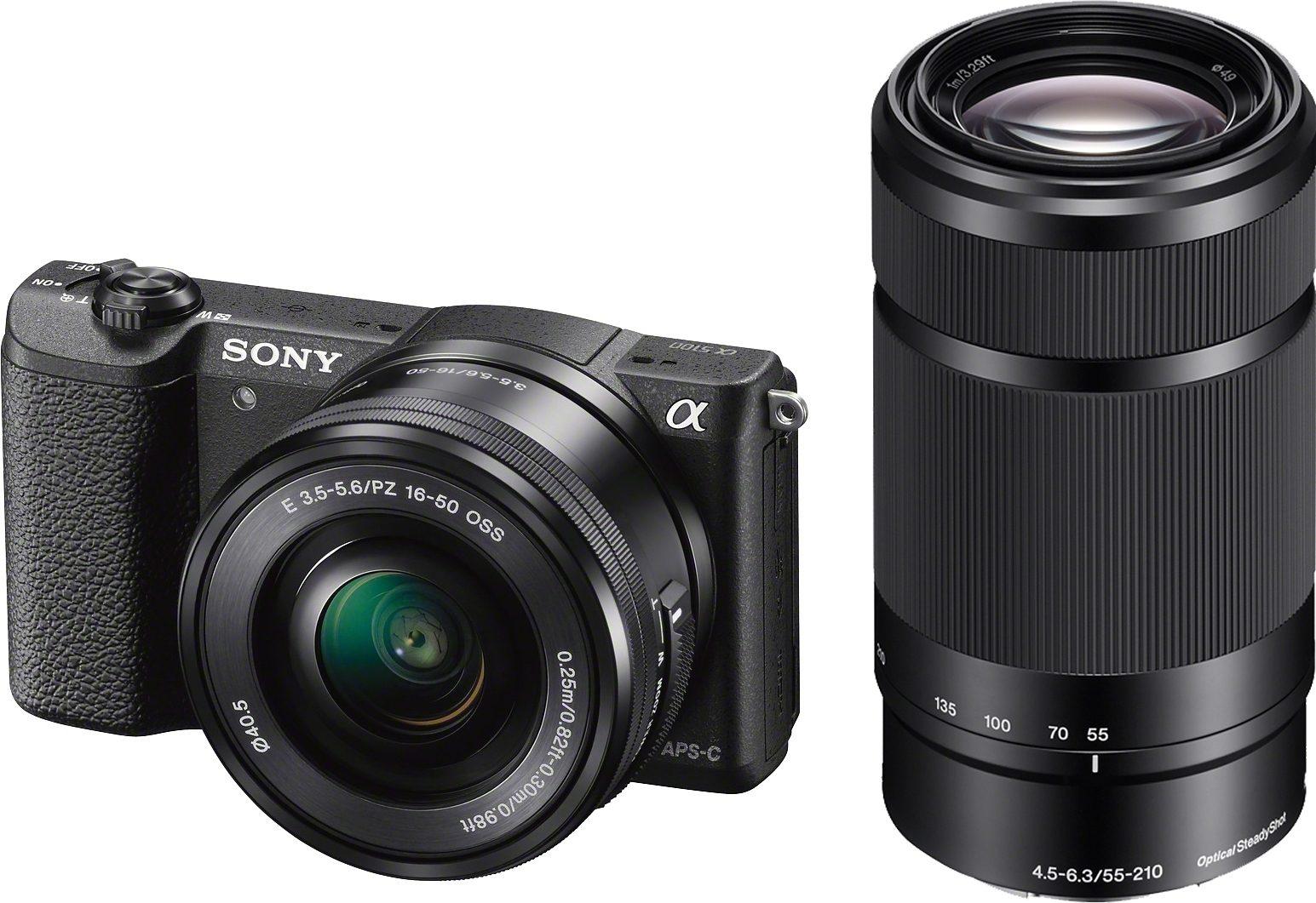 Sony Alpha ILCE-5100Y Set System Kamera, inkl. 2 SEL Objektive (16-50mm & 55-210mm), 24,3 Megapixel