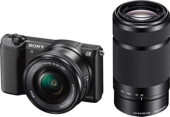 Sony »Alpha ILCE-5100Y« Systemkamera (SEL-P1650, SEL-55210, 24,3 MP, WLAN (Wi-Fi), NFC, Unterstützt PlayMemories Camera Apps, Eye-AF)