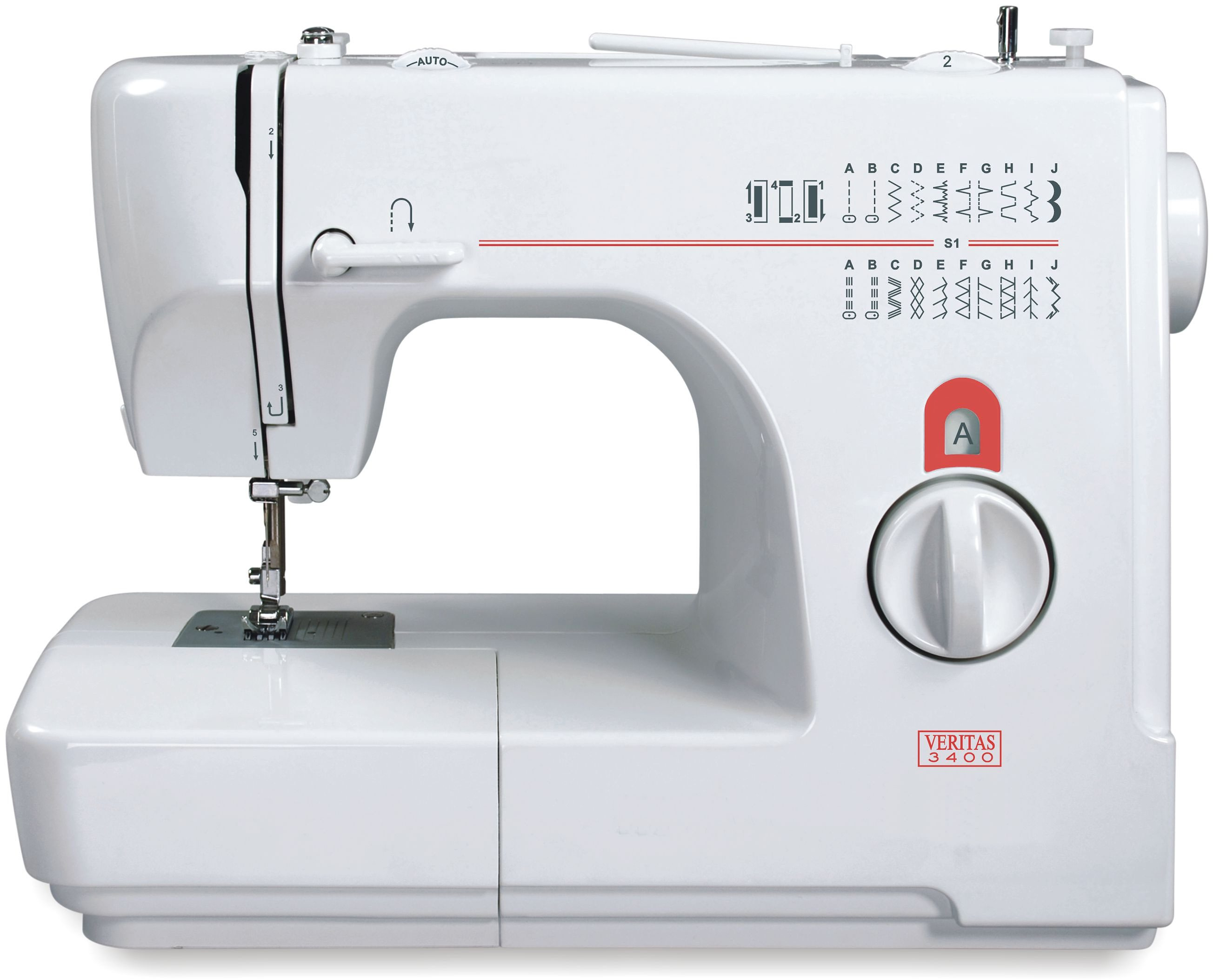 Veritas Nähmaschine 3400, 24 Stichprogramme, 4-stufige Knopflochautomatik