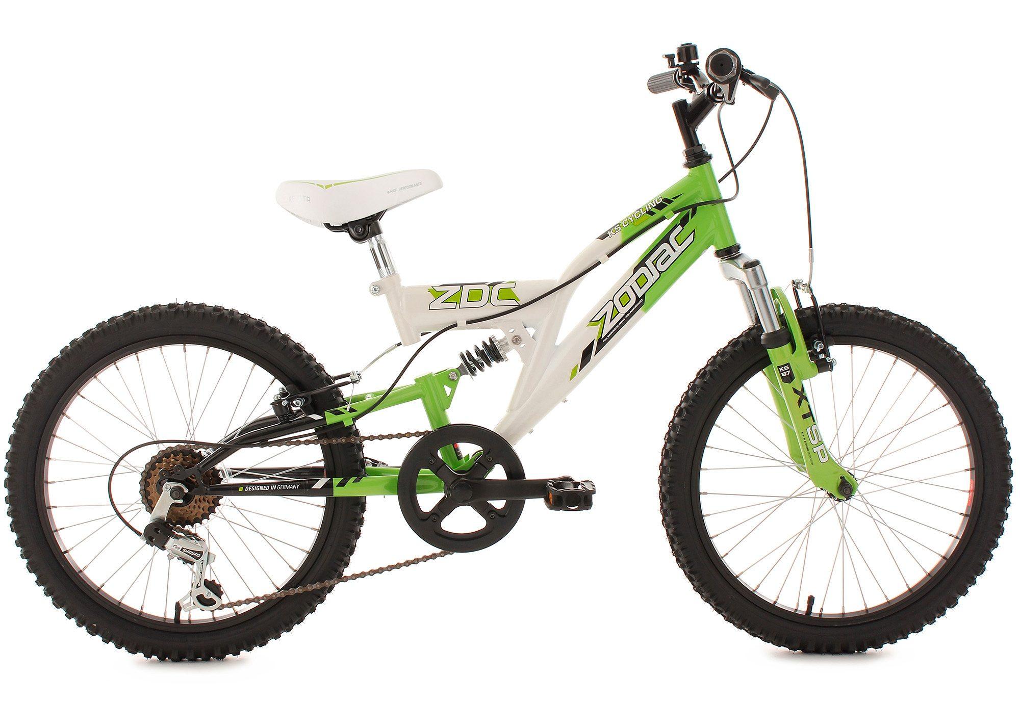 Jugend-Mountainbike, Fully, 20 Zoll, grün-weiß, 6-Gang-Kettenschaltung, »Zodiac«, KS Cycling