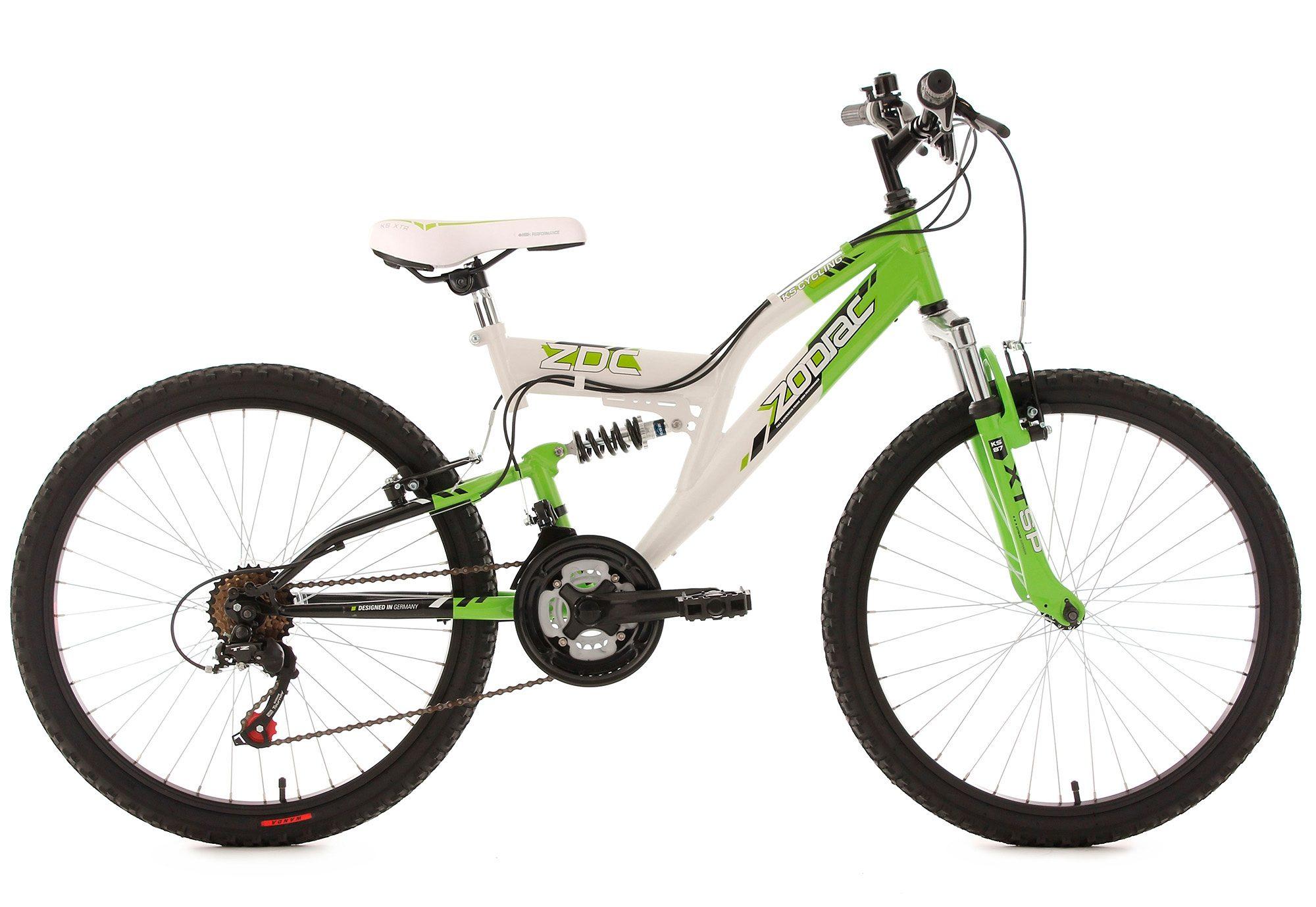 Jugend-Mountainbike, Fully, 24 Zoll, grün-weiß, 18-Gang-Kettenschaltung, »Zodiac«, KS Cycling