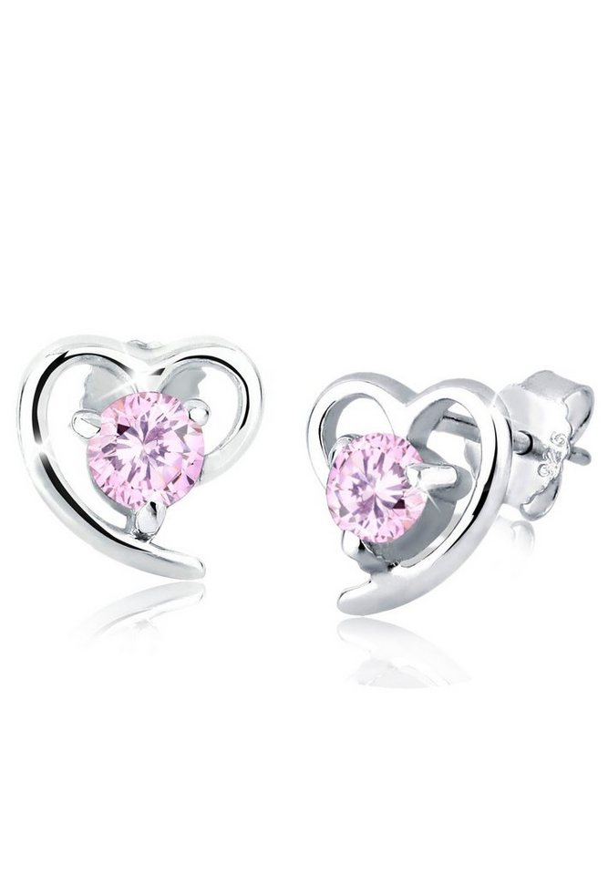 Elli Ohrringe »Herz Zirkonia Funkelnd Filigran 925 Silber« in Rosa