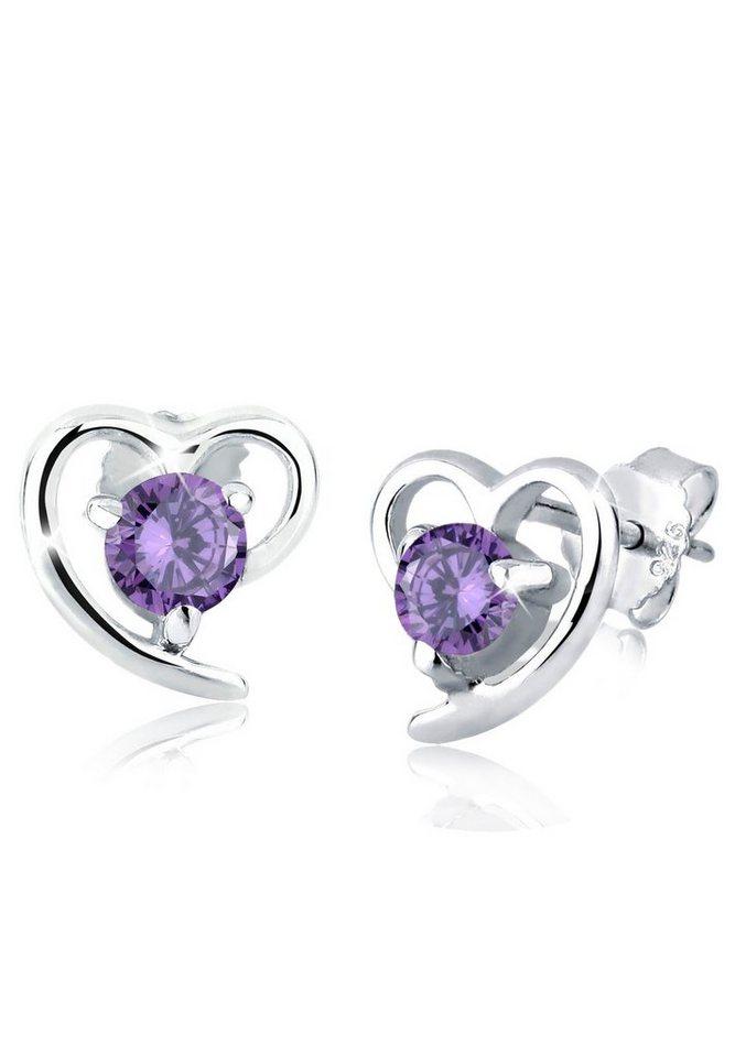 Elli Ohrringe »Herz Zirkonia Elegant Filigran 925 Silber« in Violett