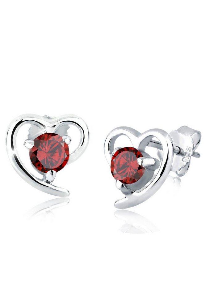 Elli Ohrringe »Herz Liebe Freundschaft Zirkonia 925 Silber« in Rot