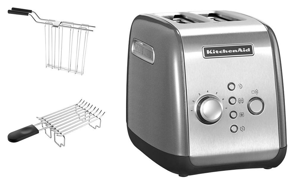 KitchenAid Toaster 5KMT221ECU, für 2 Scheiben, 1100 Watt, contur silber