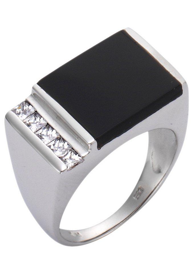 Ring / Siegelring mit Onyx und Zirkonia in Silber 925