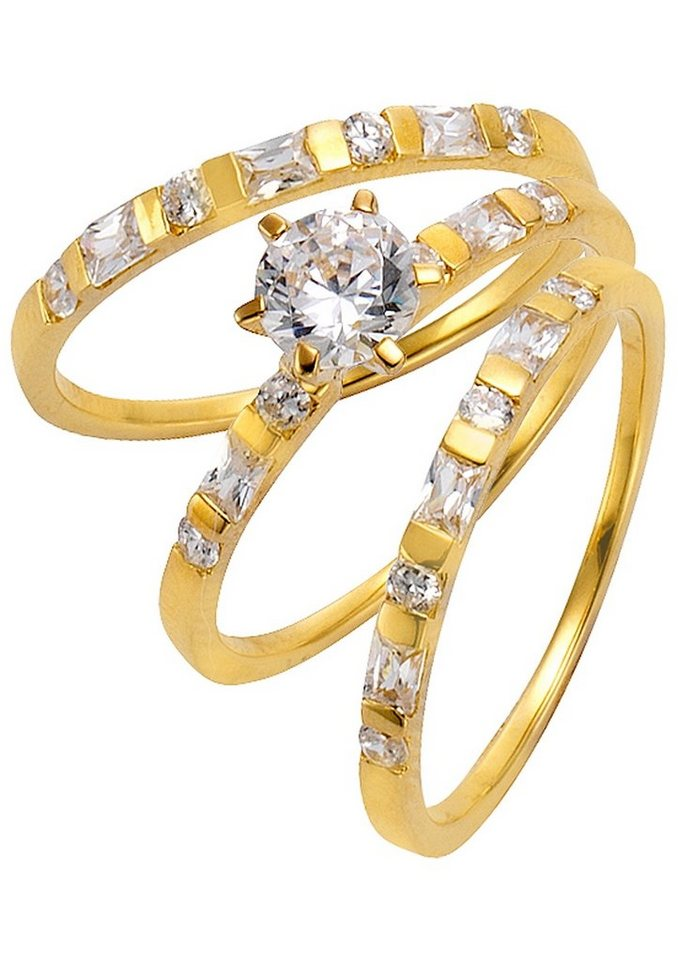 firetti Schmuckset (3-tlg.) Ringe mit Zirkonia in Silber 925/vergoldet