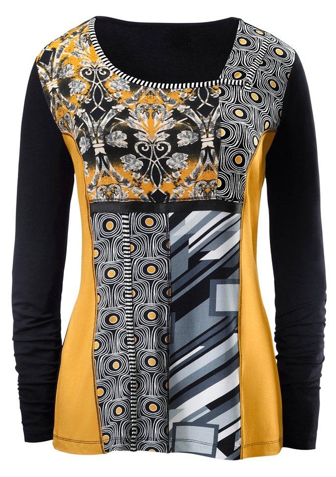 Ambria Shirt mit gestreiften Zierpaspeln und Ripsband in schwarz-gelb