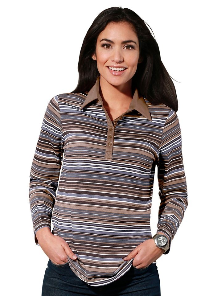 Classic Basics Poloshirt mit einfarbigem Kragen und kurzer Knopfleiste in braun-geringelt