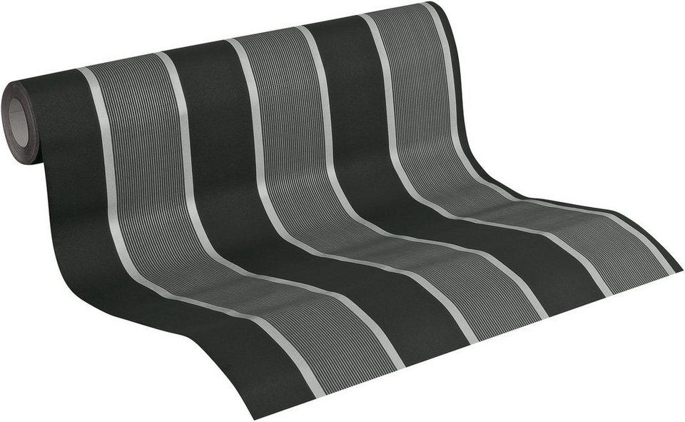 Vliestapete, Livingwalls, »METROPOLIS by Michalsky Living Streifentapete Palm Springs« in schwarz-verkehrsgrau-silberfarben