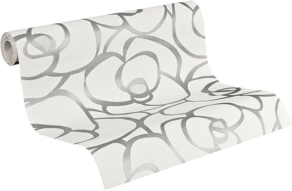 Vliestapete, Livingwalls, »Raffi my home Mustertapete Rose« in weiß-kieselgrau-metallic