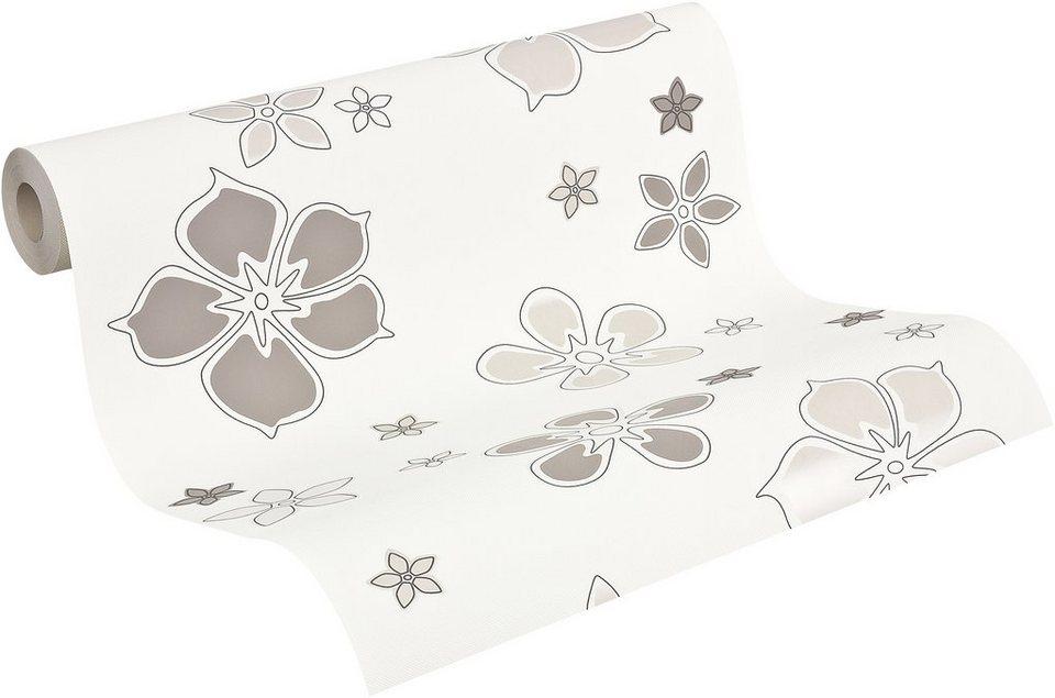 Strukturprofiltapete, Livingwalls, »Mustertapete Selina, floral« in beigegrau/hellbraun