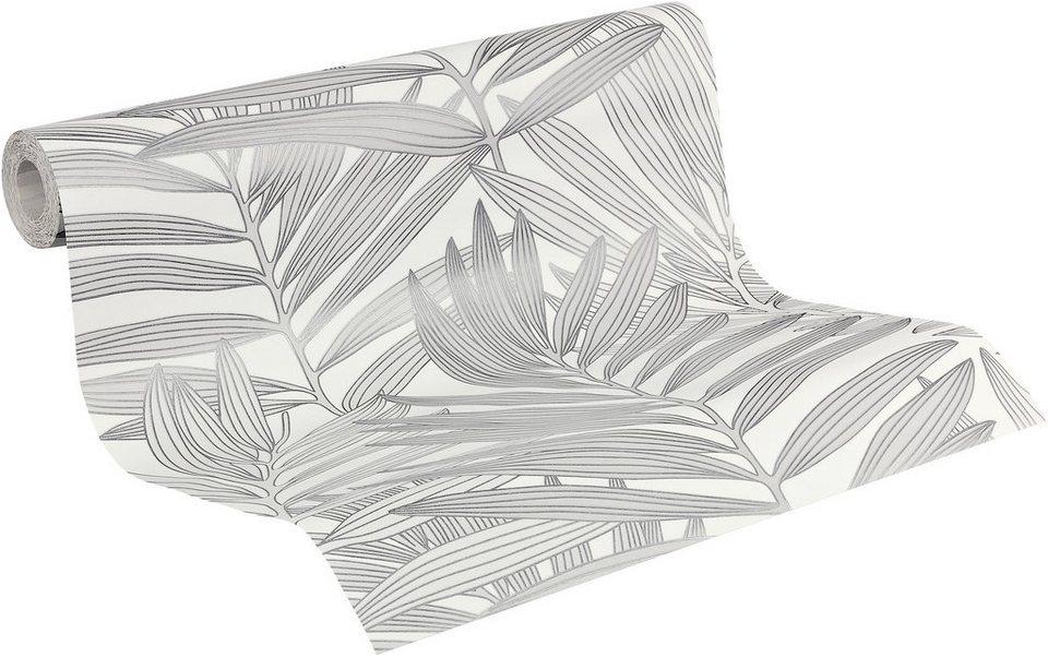 Vliestapete, Livingwalls, »METROPOLIS by Michalsky Living Mustertapete Palm Springs« in lichtgrau-weiß-verkehrsgrau