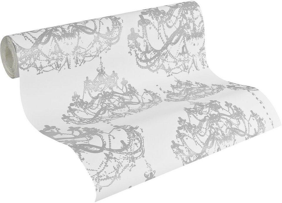 Vliestapete, Naf Naf, »Mustertapete, klassisch« in weiß-grau