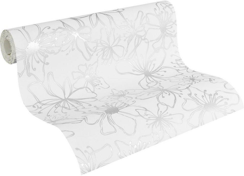Vliestapete, Naf Naf, »Mustertapete, floral« in weiß-silberfarben-metallic