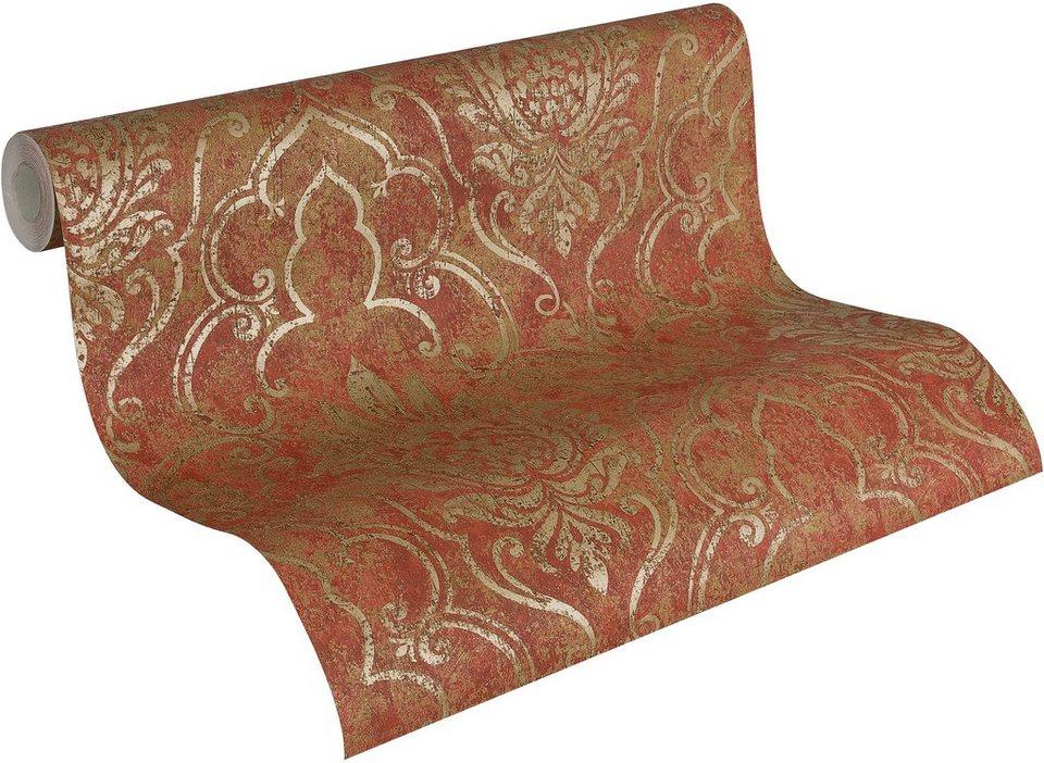 Vliestapete, Livingwalls, »Mustertapete Bohemian oriental Style« in rot-goldfarben