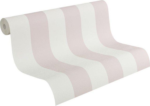 Livingwalls Vliestapete, Streifentapete im Landhaus-Stil Fleuri Pastel, weiß