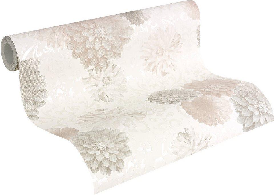 Vliestapete, Naf Naf, »Mustertapete Royal Flowers« in weiß-beige-braun-grau