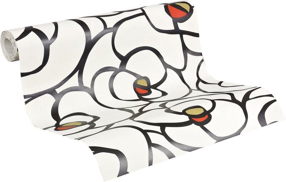 Vliestapete, Livingwalls, »Raffi my home Mustertapete Rose« in weiß-schwarz-grünbraun-korallenrot
