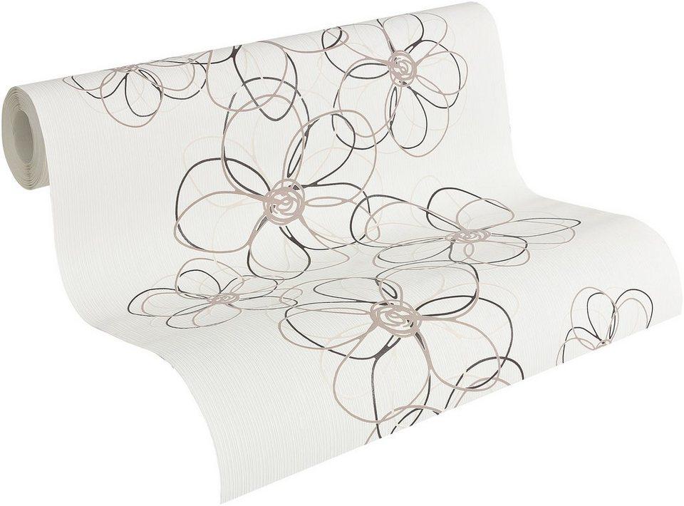Vliestapete, Livingwalls, »Mustertapete OK 6, Funny Flowers« in weiß-beige-braun-schwarz