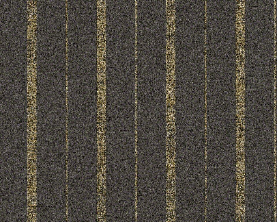 Vliestapete, Daniel Hechter, »Streifentapete Luxury Stripes« in anthrazit-schwarz-goldfarben-metallic