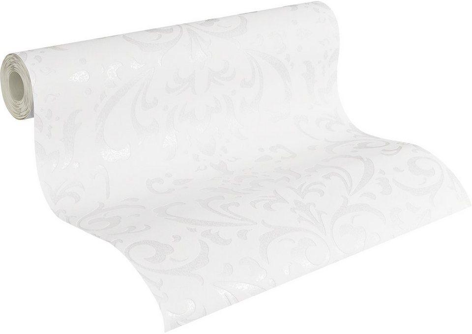Vliestapete, Naf Naf, »Mustertapete, neo-barock« in weiß-beige-grau-metallic