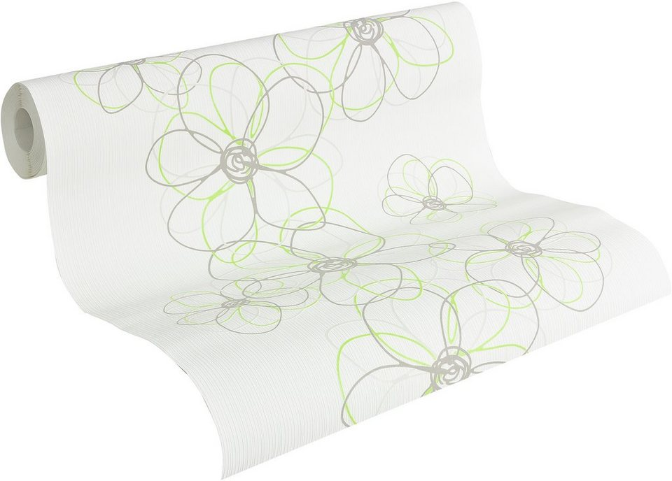 Vliestapete, Livingwalls, »Mustertapete OK 6, Funny Flowers« in weiß-grau-silberfarben-hellgrün