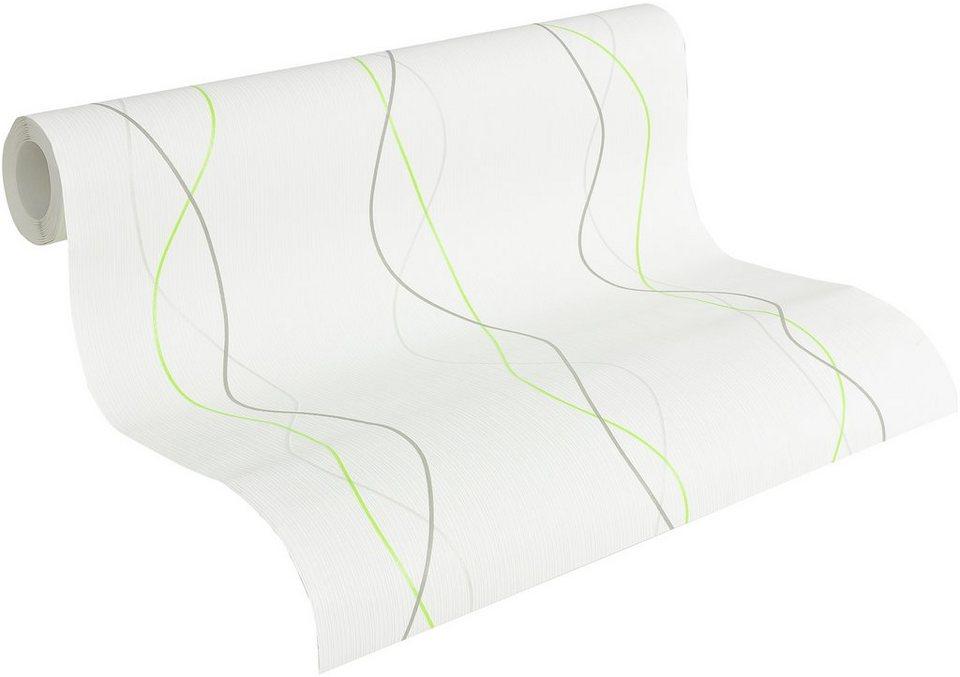 Vliestapete, Livingwalls, »Streifentapete OK 6, Funny Stripes« in weiß-grau-silberfarben-hellgrün