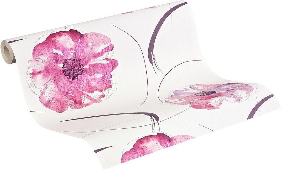Papiertapete, Livingwalls, »Mustertapete Aquarelle« in erikaviolett-pastellviolett-weiß