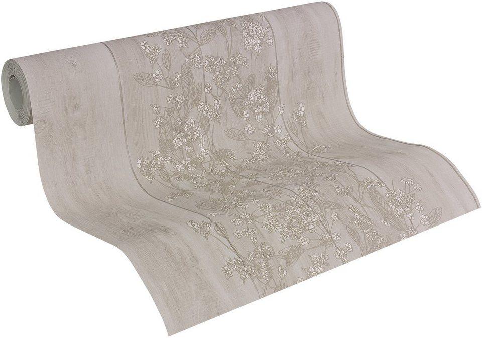 Vliestapete, Naf Naf, »Mustertapete Wood and Flowers« in braun-beige-weiß