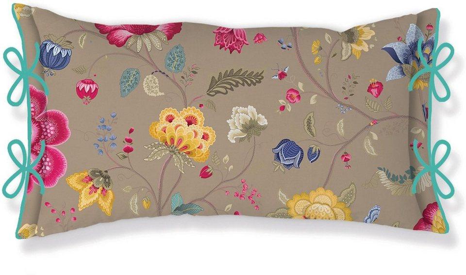 Dekokissen, PiP Studio, »Floral Fantasy«, mit Schleifen in khaki