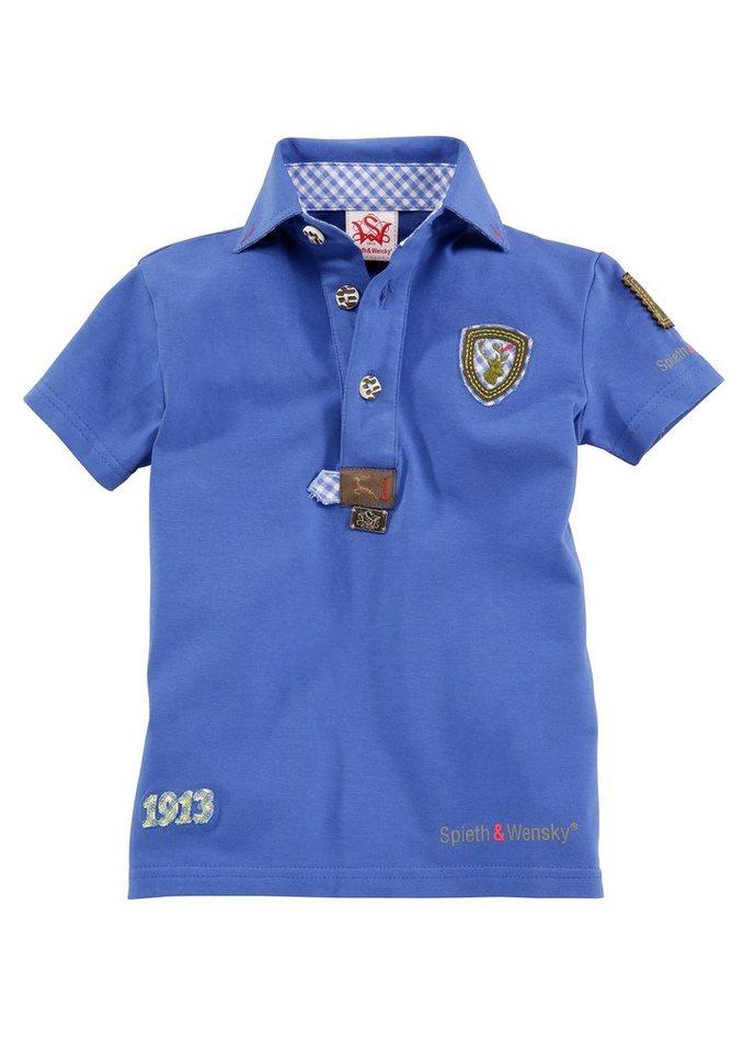 Kinder Trachtenshirt, mit Stickerei, Spieth & Wensky in blau
