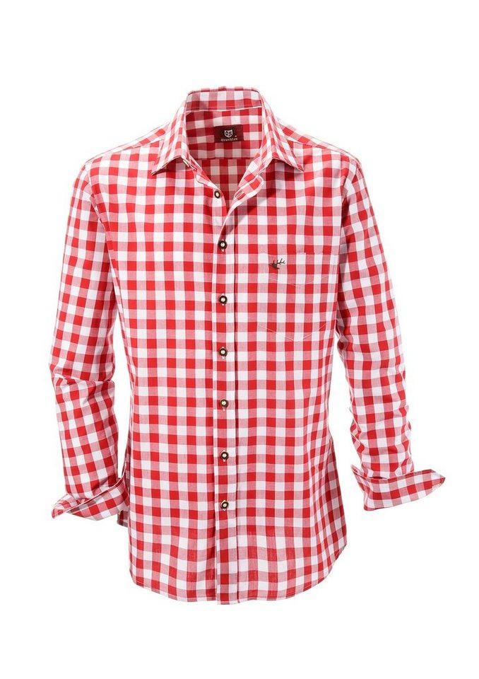 Trachtenhemd, kariert, OS-Trachten in rot