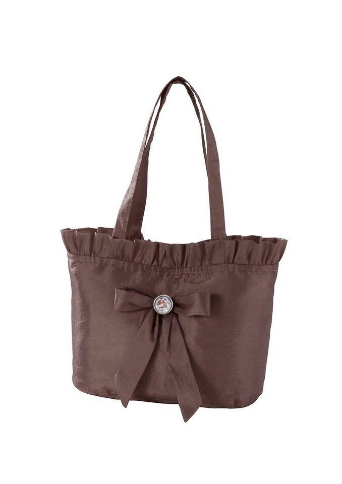 Trachtentasche, mit Rüschen und Masche, Hannah in braun