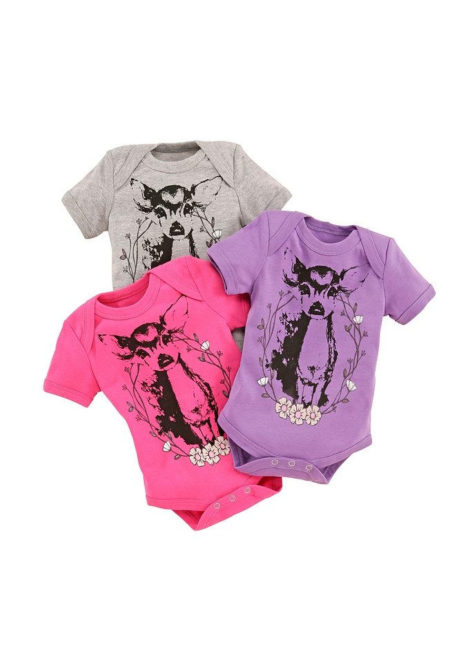 Trachtenbody-Set, 3 Stk., Marjo in lila,grau,pink