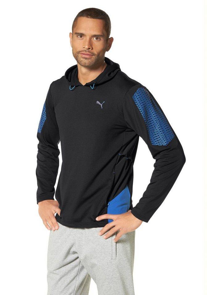 PUMA Funktions-Kapuzensweatshirt in Schwarz-Blau