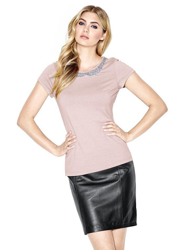 Rundhalsshirt in rosé