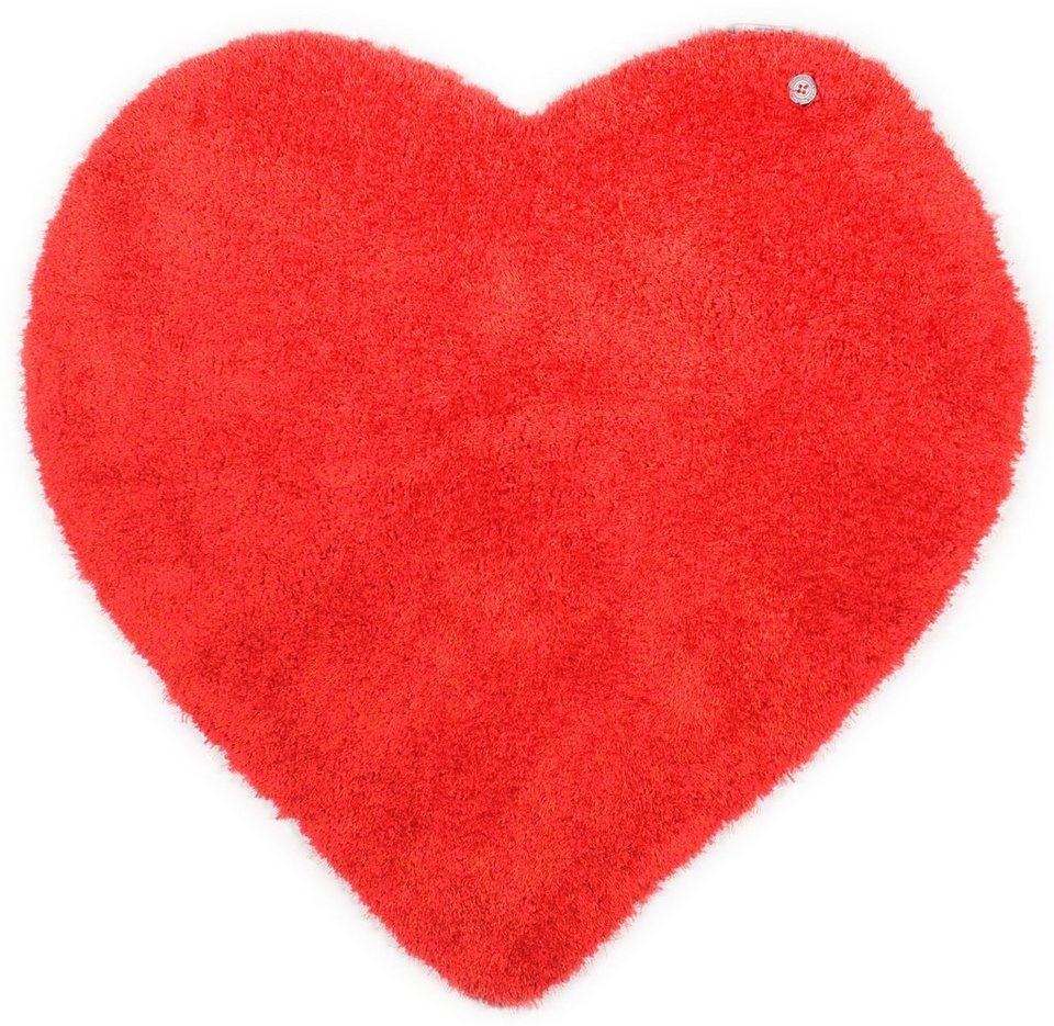 Kinder-Teppich, Tom Tailor, »Soft Herz«, Hochflor, Höhe 30 mm, handgearbeitet in rot