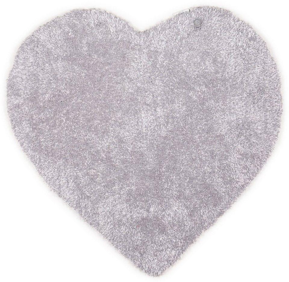 Kinder-Teppich, Tom Tailor, »Soft Herz«, Hochflor, Höhe 30 mm, handgearbeitet in grau